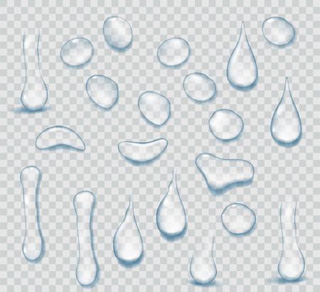 Zuiver helder water druppels realistische set geïsoleerd op transparante achtergrond. Realistische waterachtergrond met dalingen.
