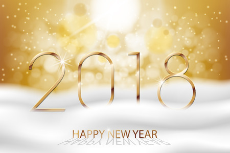 Vector Happy New Year 2018 - New Year Colorful Winter background with gold text. Greetings New Year banner with snow and bokeh. Vector