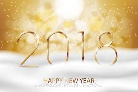 Vector Gelukkig Nieuwjaar 2018 - Nieuwjaar Kleurrijke winter achtergrond met gouden tekst. Groeten Nieuwjaar banner met sneeuw en bokeh. Vector