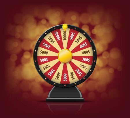 Black Fortune wheel with on bokeh background for online casino, poker, roulette, slot machines, card games. realistic 3d fortune wheel object isolated Stock Photo
