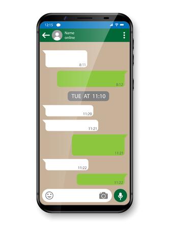 검은 색 현실적인 스마트 폰 채팅 또는 메시징 앱. 소셜 네트워크 개념입니다. 메신저 창 벡터 일러스트와 함께 휴대 전화 스톡 콘텐츠 - 91380528