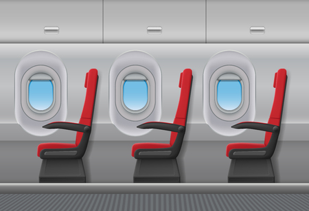 Passenger airplane red vector interior. Aircraft indoor cabin with portholes and chairs seats. Vector illustration.