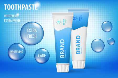 Whitening toothpaste concept, isolated on blue background. Tooth model and product package for web site, poster advertising and marketing. 3D Vector toothpaste illustration.