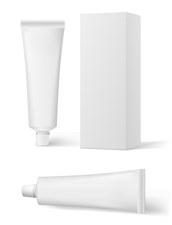 Realistic white cosmetic cream and packaging. Tube For ointments, cream, tooth paste, glue. Vector tube tooth paste ointment mock up.