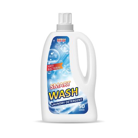 Contenitore bianco bottiglia con etichetta. Design della confezione del detersivo per bucato. Bottiglia chimica isolata nell'illustrazione 3d. Vettoriali