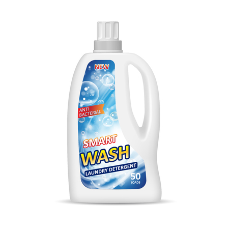 White container bottle with label. Laundry detergent package design. Chemical bottle isolated in 3d illustration.