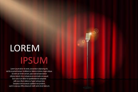 Theaterpodium met concertmicrofoon en schijnwerper. Affiche voor concert, feest, theater, circus of bioscoop achtergrond. vector illustratie Stock Illustratie