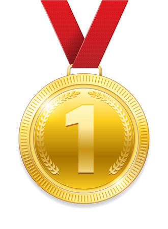 Champion Award gold Medal for sport prize. Shiny medal with red ribbon isolated on white background. Vector illustration EPS 10.