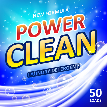Power clean soap banner ads design. Washing Powder or Laundry detergent Package design. Vector illustration EPS 10 Illustration