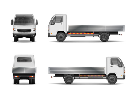 White realistic delivery cargo truck isolated on white. City commercial lorry mockup from side, front and rear view. Vector illustration EPS 10.