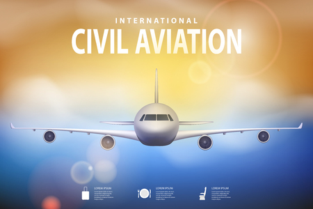 Summer travel illustration with airplane on blue sunny background. Brochure in tourism theme. Travel agency advertisement airplane poster design. Vector EPS 10 Vectores