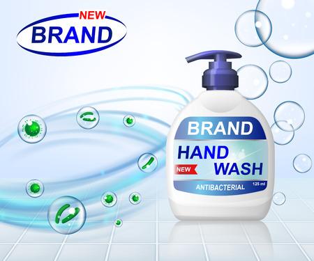 Illustrazione antibatterica di vettore degli annunci del lavaggio del gel della mano