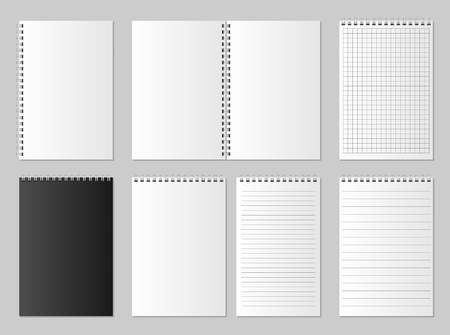 Realistic blank open and closed organizer. Notebook and notepad set mock up isolated. Diary paper page organizer and Notebook. vector illustration 向量圖像