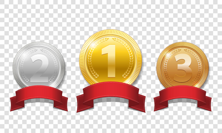 Gold, silver and bronze shiny medals with red ribbons isolated on transparent background. Champion Award Medals sport prize. Vector illustration EPS 10 Фото со стока - 96210570