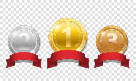 Medaglie d'oro, argento e bronzo lucide con nastri rossi isolati su sfondo trasparente. Champion Award Medaglie premio sportivo. Illustrazione vettoriale EPS 10 Archivio Fotografico - 96210570