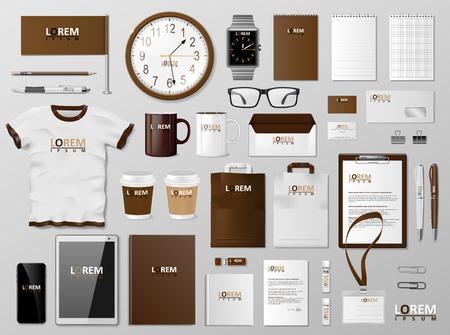 Huisstijl branding bruin ontwerpsjabloon. Modern realistisch briefpapiermodel. Briefpapier en documentatie in zakelijke stijl. Vector illustratie