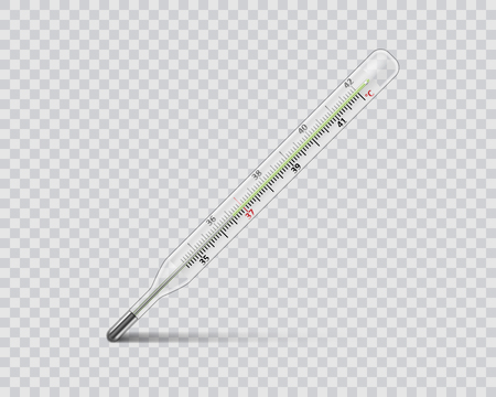Medical mercury thermometer on transparent background. Realistic temperature diagnostic measurement instrument. vector illustration Stock Illustratie