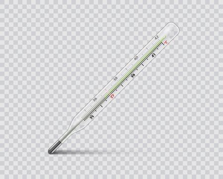 Medical mercury thermometer on transparent background. Realistic temperature diagnostic measurement instrument. vector illustration Illustration