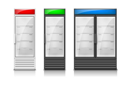 Empty fridge glass sliding doors. Modern Supermarket commercial freezer equipment template. Refrigerator freeze equipment for drinks and food. Vector illustration