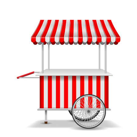 Realistic street food cart with wheels. Mobile red market stall template. Farmer shop market cart, kiosk store mockup. Vector illustration