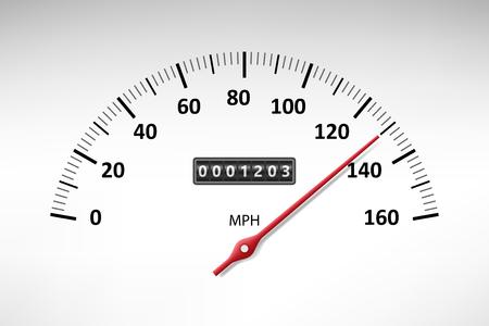 Tachimetro auto con scala del livello di velocità isolato su bianco. contagiri auto e pannello velocità. illustrazione vettoriale EPS 10