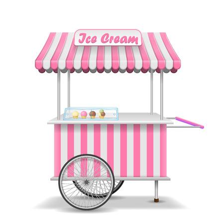 Chariot de nourriture de rue réaliste avec roues. Modèle de décrochage de marché de crème glacée rose mobile. Maquette de magasin de kiosque de crème glacée. Illustration vectorielle