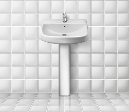 Bathroom interior with white sink. Realistic washbowl. Bathroom sink mockup isolated. Vector illustration