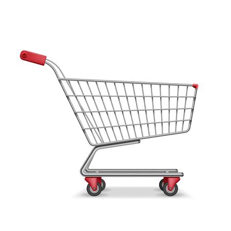 Empty metallic supermarket shopping cart side view isolated on white. Realistic supermarket basket, retail pushcart vector illustration