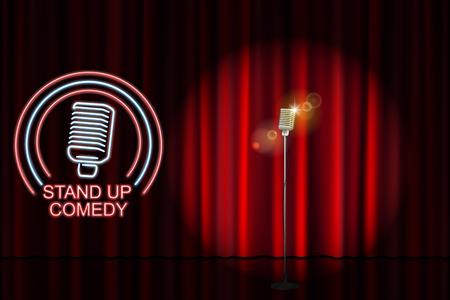 Commedia in piedi con insegna del microfono al neon e sfondo con tenda rossa. Spettacolo serale di cabaret o festa con karaoke. Illustrazione vettoriale