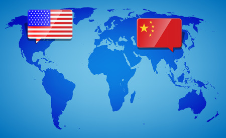 USA and China at the blue World Map background. Trade war with America and China. International business global exchange concept. Vector