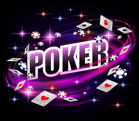 Casino Gambling Poker background design. Banner di poker con fiches e carte da gioco. Sfondo scuro banner casinò lucido in linea. Illustrazione vettoriale.