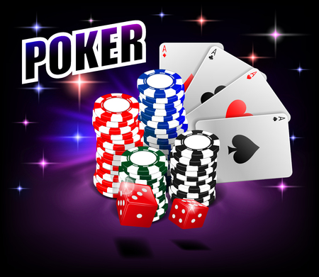 Casino Gambling Poker background design. Poker banner with chips, playing cards and dice. Online Casino Banner on shiny background. Vector illustration.