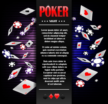 Casino Gambling Poker background poster design template. Poker invitation with Playing Cards and chips. Online Casino Game design. Vector illustration. Illustration