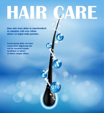 Ontwerp voor haar voedende shampoo-advertenties. Concept maakt een einde aan de preventie van splitsing. Haarverzorgingsshampoo voor de gezondheid. Shampoo met vitamines ter bescherming van de haarpuntjes. Vector illustratie Vector Illustratie