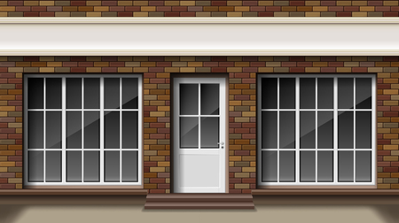 Brick small 3d store or boutique front facade. Exterior empty boutique shop with big window. Blank mockup of stylish realistic street shop. Vector illustration Vettoriali