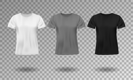 Black, white and gray realistic male t-shirt with short sleeves. Blank t-shirt template isolated. Cotton man shirt design. Vector illustration
