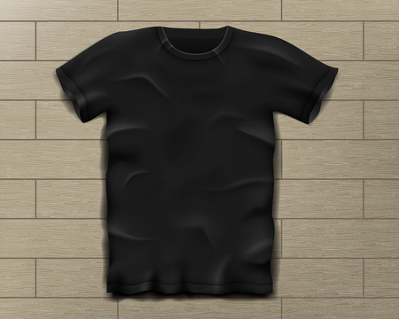 Black realistic slim male t-shirt. Blank t-shirt template on Vintage wooden floor isolated. Sports man shirt design. Vector illustration Illusztráció