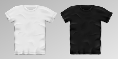 Black and white realistic male t-shirt. Blank sports t-shirt template isolated. Cotton man shirt design. Vector illustration