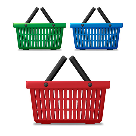 Realistic red, blue and green empty supermarket shopping basket isolated. Basket market cart for sale with handles. vector illustration Illusztráció