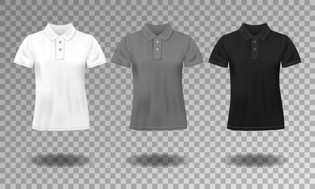 Black, white and gray realistic slim male polo t-shirt design template. Set of short sleeve t-shirts for sport, men classic polo. Vector illustration