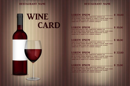 Wine card menu design with realistic bottle and glass. Restaurant wine list beverage menu, red wineglass template. Vector illustration