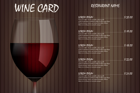 Wine card menu design with realistic glass. Restaurant wine list drink menu, red wineglass template. Vector illustration