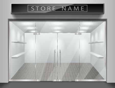 Modello per facciata anteriore del negozio di pubblicità. Negozio vuoto esterno realistico con finestra. Mockup in bianco del negozio di strada di vetro alla moda. Illustrazione vettoriale