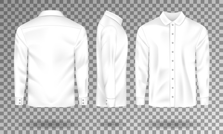 Blank male shirt template. Realistic Men s shirt with long sleeves front, side, back view. White cotton Shirt isolated. Vector illustration EPS 10 Illusztráció