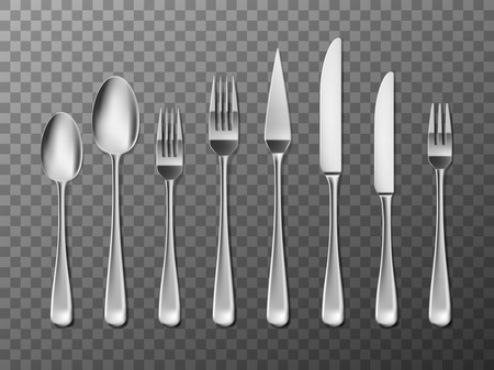Steel Cutlery, knife, fork and spoon in realistic style. Cutlery set design isolated. Vector illustration EPS 10