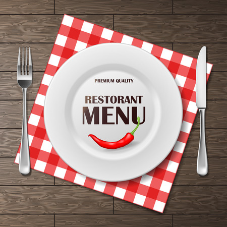 Restaurant menu front banner with plate and cutlery set on napkin. realistic Restaurant menu background advertisement poster vector illustration EPS 10