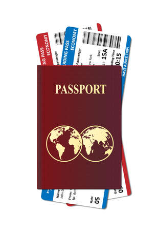 Illustration of International passport with tickets. Holiday and vacation Air travel concept. Vector Imagens - 151560435