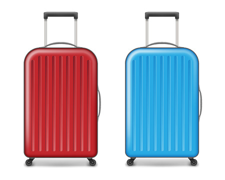 Realistic red and blue large travel plastic suitcase. polycarbonate suitcase with wheels isolated on white. Traveler luggage bag design concept. vector illustration EPS 10 Illusztráció