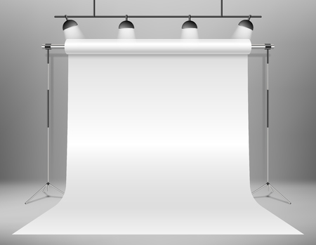 Realistic empty white photo studio backdrop template. photographer studio backdrop stand with Spotlights. Vector illustration EPS 10 Illusztráció