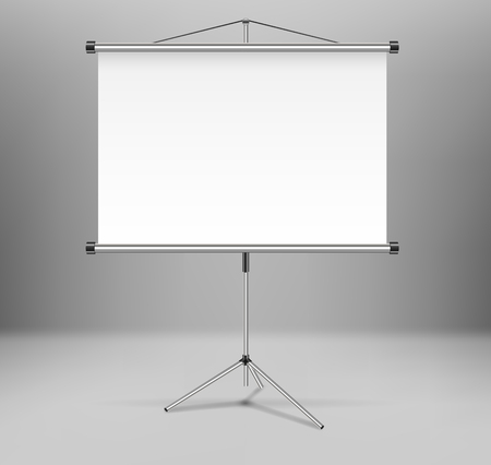 Whiteboard projector presentation screen isolated. White empty screen stand on tripod in room. vector illustration EPS 10 Illusztráció